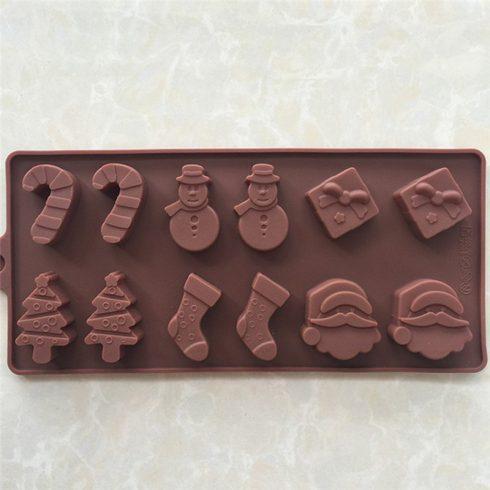 Karácsonyi szilikon csokikészítő forma